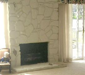 Before, Bill and Dodi had a dated fireplace. The flagstone took over this  wall, and wasn't a space that was easy to decorate.